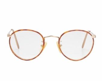 Giorgio Armani vintage round - pantos eyeglasses in matte gold & demi blonde cello with typical windsor rims, 1980s NOS