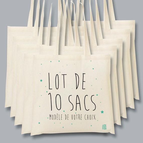 Bien-aimé Lot de 10 sacs à personnaliser pour mariage sac de toile VN75