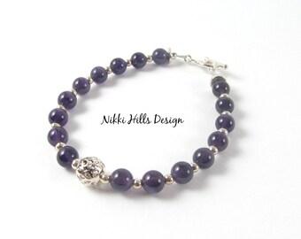 Amethyst Bracelet February Birthstone Women Bracelet Sterling Silver Purple Amethyst Beaded Bracelet Girlfriend Gift for Her Healing Jewelry