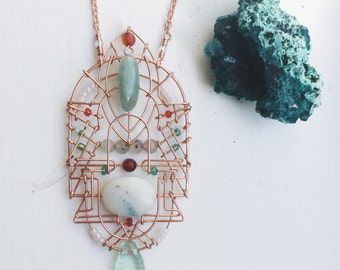 Hunter's Moon Talisman with Agate, Amazonite, Bloodstone, and Carnelian