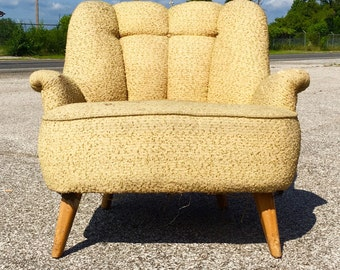 Heywood Wakefield overstuffed chartruese blonde wood lounge chair