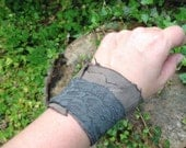 Stone Lace- Recycled Leather and Lace Wrap Bracelet~ Raw~ Edgy~ Soft~ Concrete