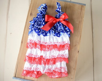Fourth of July Romper, Baby 4th outfit, Fourth of July Outfit, 4th of July Dress, 4th of July outfit, Nautical outfit, Red white blue girls