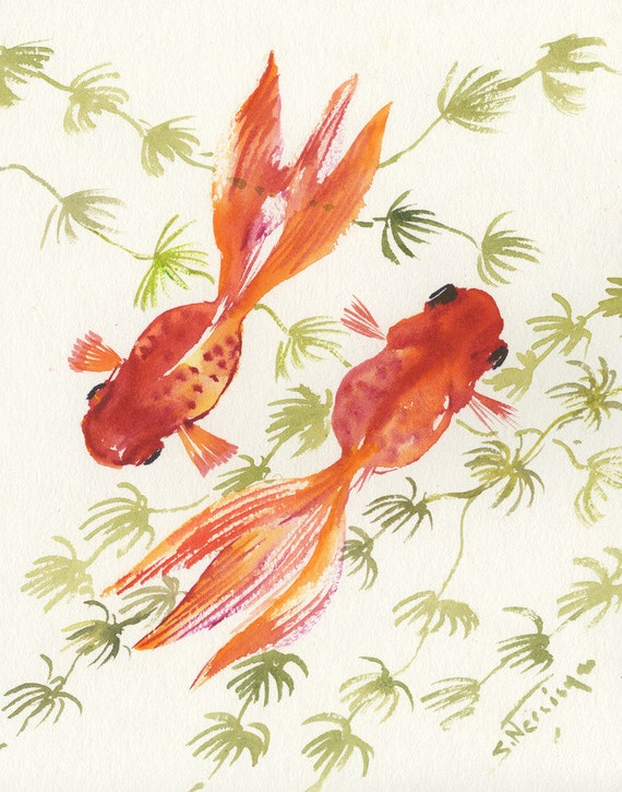 Goldfish original watercolor painting 10 x 8 in koi fish for Original koi fish