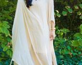 "Yara Yosif ""MASA"" silk bridal kaftan with hand embroidered glass stones"