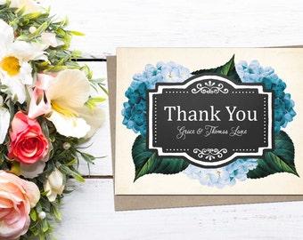 Hydrangea Floral Thank You Folded Note; wedding, shower, baby, graduation