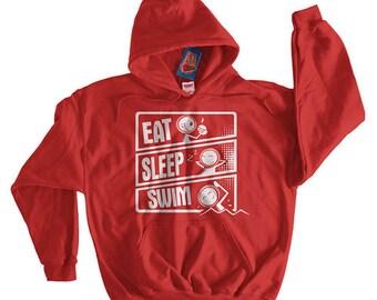 Swim Team Swimming Eat Sleep Swim Hoodie Screen Printed Hoodie Hooded Sweatshirt Mens Womens Ladies