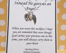 God gave us an angel miscarriage jewelry keepsake necklace Sterling Silver