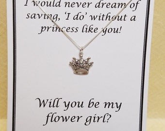 Flower Girl Thank You Gift Sterling Silver Princess Necklace