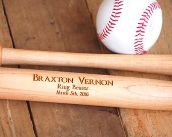 1 Ring Bearer Gift, Custom Engraved, Personalized Baseball Bat - Baseball Wedding Favor for Usher, Best Man, Graduations & Birthday Gift