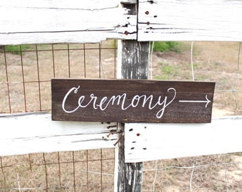 Wedding Directional Sign with Post, Rustic Wedding Signs, Ceremony Reception Sign, Outdoor Wedding Sign, Wedding Road Sign