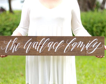 Family Name Sign, Rustic Farmhouse Home Decor, Photo Prop Sign, Wedding Gift, Rustic Home Wall Art
