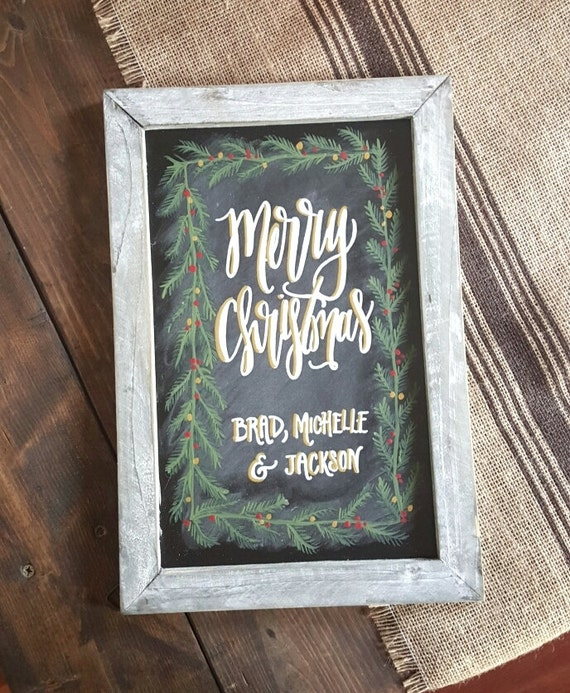 Merry Christmas Chalkboard Sign, Christmas Photo Prop Sign, Rustic Christmas Decor, Personalized Gift