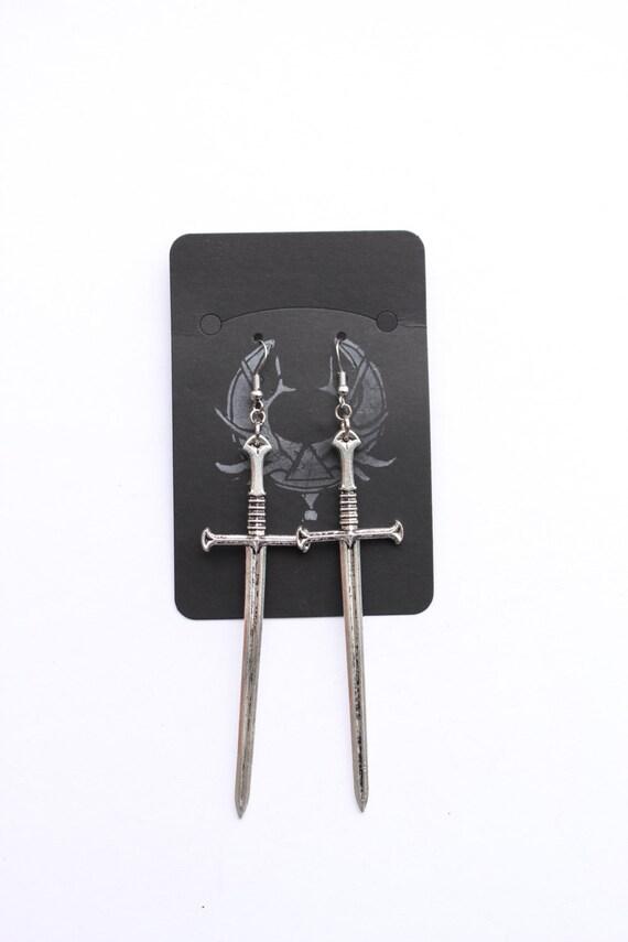 Sword Wielder Dangles, Hand Fabricated Found Object, Unique Statement Earrings, Dangle Earrings, Sword Earrings, Large Earrings
