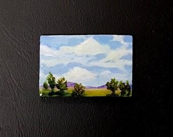 miniature painting art painting partly cloudy wood panel miniature art acrylic original miniature artbyevelynmarie 1 1/2 x 2 1/4