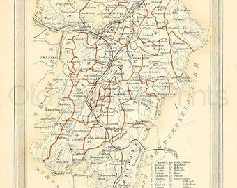 Roxburgh Shire c.1857 - Antique Scottish County Map of Roxburgh Shire- 8 x 11 ins PRINT - FREE P&P UK
