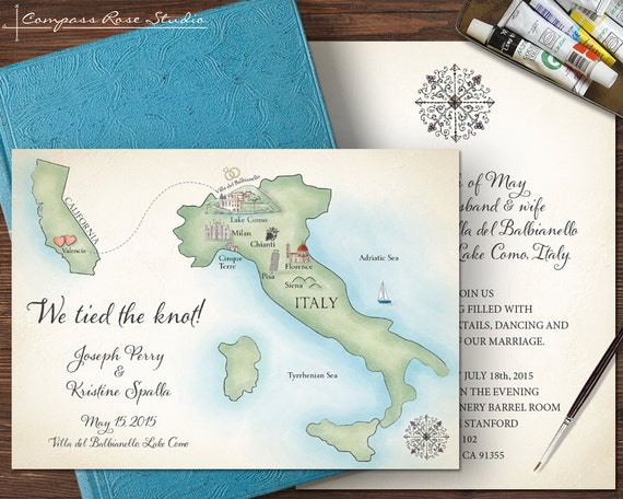 Italy Wedding Map Watercolor Wedding Invitation Any