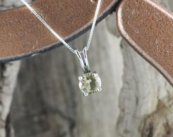 Sterling Silver Pendant/Necklace - Lemon Quartz Pendant/Necklace - Sterling Silver Setting with a 7mm Natural Lemon Quartz Solitaire