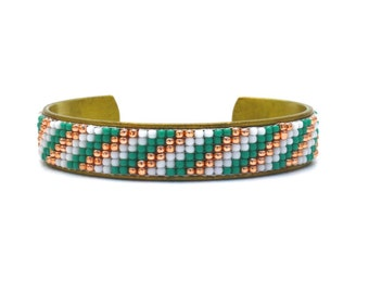 Hand Beaded Cuff Bracelet, Seed Bead Loom Bracelet, Adjustable Bracelet, Turquoise, Rose Gold, and White Stripes, Boho Cuff, Tribal Style