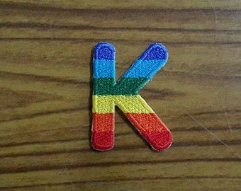 Rainbow Alphabet Letter K Applique Embroidered Iron on Patch