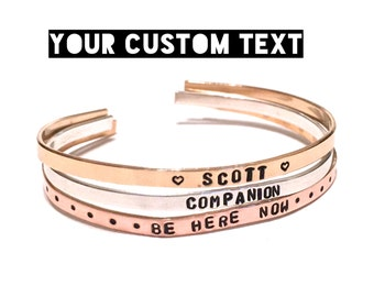 Custom Hand Stamped Jewelry. Thin Cuff Bracelet. Inspiration Jewelry . Custom Jewelry. Mantra Bracelet.Personalize Engraved Cuff