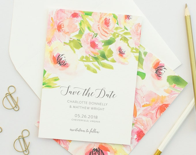 Watercolor Save the Date Cards, Watercolor Florals in Pink, Wedding Save the Dates with Tropical Florals, Tropical Weddings | Ethereal