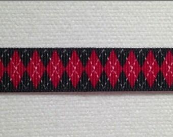 "Red & Black Argyle Ribbons 3/8"""