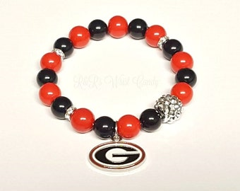 University of Georgia Bulldog Bracelets, College Football Bracelets, Team, Stretchy, Womens Bracelets, Handmade Custom Beaded Jewelry