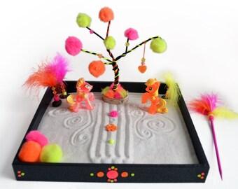 Mini Zen Garden // Unicorn Figurines // Little Pony // Neon Desk Toy // Meditation // Playset // DIY Kit // Office Toy / Sand Art / Neon Art