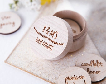 Personalised 'Date Night' Token Box - Date Jar - Date Night Box - Gift for Lover - Love Tokens - Anniversary Gift - Date Night Ideas
