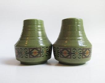 Avocado Green Salt & Pepper Shakers. Vintage Mid Century Ceramic Salt + Pepper Shakers. Made in Japan.