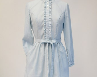 The Villager Vintage 60s Baby Blue Striped Dress with Pockets Womens Size Small
