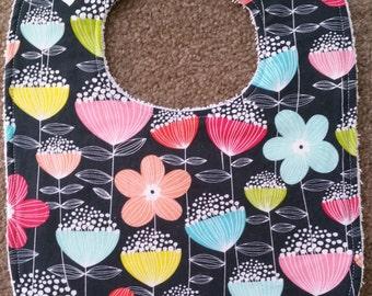 Floral Bib - Charcoal
