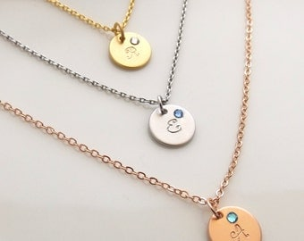 Silver, rose gold or gold birthstone and initial necklace, initial necklace, monogram necklace, christmas gift for her, bridesmaid necklace