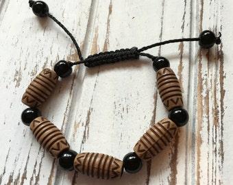 Handmade African adjustable beaded  bracelet - Wood  beads - FREE SHIPPING - Adjustable bracelet