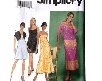 Simplicity 9122, Women's Dress and Bolero Jacket Pattern, Summer Dress Pattern, Sundress, Party Dress Pattern, Size 6-16, Uncut Pattern