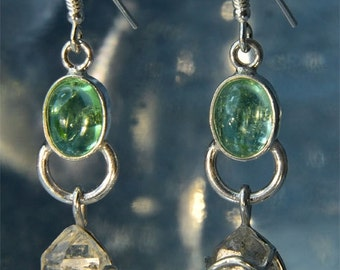 Aqua Tourmaline & Herkimer Diamond Sterling Silver Earrings SE188