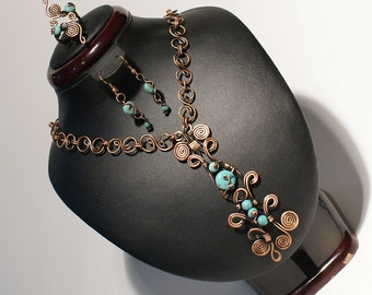 turquoise jewelry set,turquoise necklace,turquoise earring,turquoise ring,copper jewelry,wire wrapped jewelry handmade,unique womens gift