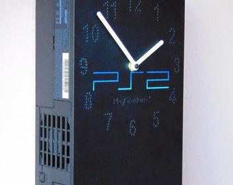 Sony PlayStation 2 PS2 PlayStation2 fat retro recycled video game console wall and table desk clock not only for men or gamer fan - black