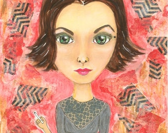 Audrey, Audrey Horne, Twin Peaks, Twin Peaks Print, Twin Peaks Art, Girl Art, Mixed Media, Mixed Media Art, Gothic Art, David Lynch, Fan Art