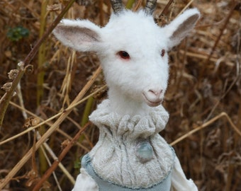 RESERVED  Goat Girl Art Doll - Freya - Ooak - Paper Clay Art Doll - Nigrica Art Doll - 2 payment