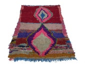 """79""""X49"""" inch Large vintage Moroccan rug woven by hand from scraps of fabric / boucherouite / boucherouette"""