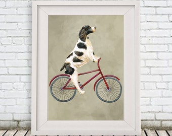 English Springer Print, Springer Painting, Art Poster Acrylic Painting Kids Decor Drawing Gift, Dog on bicycle, bicycle print