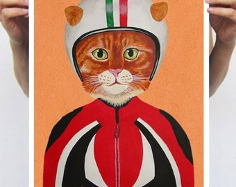 Cat poster, Cat Print Poster A3 Illustration Giclee Print Wall art Wall Hanging Wall Decor Animal Painting Digital Art: Cat with helmet