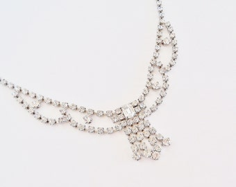 LA REL Clear Rhinestone Necklace
