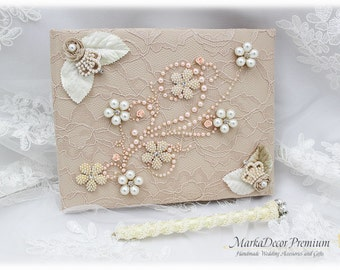 Wedding Lace Guest Book  Pen Set Custom Jewelrd Book Bridal Flower Pearl Brooch Guest Books Birthday Book in Champagne, Ivory, Blush Pink