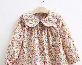 Floral cotton girl blouse, long sleeve, Girls clothing Girls shirt peasant blouse Toddler girls clothes Girls floral print Rose top