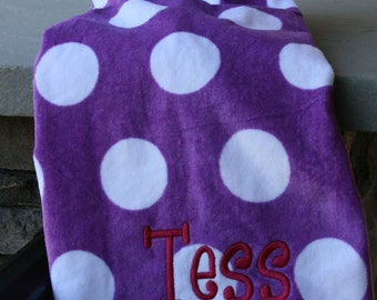 Girls Monogrammed Beach Towel Purple Dots Personalized Beach Towel with Name