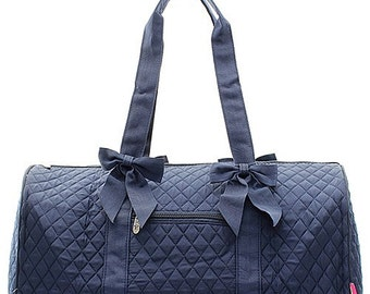 Girls Monogrammed Quilted Navy Duffel Bag Girls Personalized Dance Bag