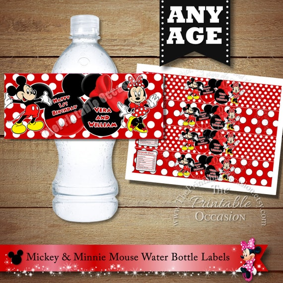 Mickey Minnie Mouse Twin Water Bottle Labels Red Boy Girl
